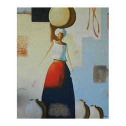 Used Brazilian Oil Painting - Woman in Red - A striking painting of a woman in vibrant red with a soft background of blue and beige. This contemporary original oil painting is done by painter, Geraldo Casado, Puerto Siguro, Bahia, Brazil. The work is presented on canvas with finished edges.