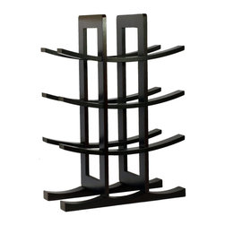 Oceanstar Design - 12-Bottle Bamboo Wine Rack, Dark Espresso - Dimensions: 15.75 inches H x 5.75 inches D x 11.75 inches W