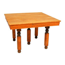 Pre-owned Vintage Square Wood Table - This vintage square table is quite the looker! Unique in style, it features a natural wood top and skirt, highly detailed carved legs, and ball feet. A very unique table with unknown origins. Beautiful patina to wood established to be circa 1920.