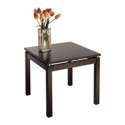 Winsome Wood - Winsome Wood Linea End Table w/ Chrome Accent - End Table w/ Chrome Accent belongs to Linea Collection by Winsome Wood The stylish and unique design of this end table make it an attractive addition to any living room, while the broad, flat surface has many practical uses. Dark Espresso Finish with Chrome Accent End Table (1)