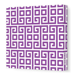"""Avalisa - Pattern - Squares Stretched Wall Art, 18"""" x 18"""", Purple -"""