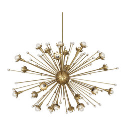 Robert Abbey - Robert Abbey Jonathan Adler Giant Sputnik Brass Chandelier, 11661 - Jonathan Adler's Sputnik Collection for Robert Abbey features an antique brass chandelier with laser-cut crown cup motifs that lightly halo the bulbs for a modern glow. Tiny stems with crystal accents further reflect the galactic light and create a soft graceful design.