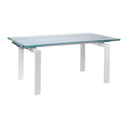 "Euro Style - Shelly Table - Frosted-Clear Glass/White Leather - The table that has more of everything.  Clear glass or frosted?  How about both.  63"" wide to 87"" wide.  No problem.  The Shelly table is designed for a quiet dinner for 2 or go ahead and invite everyone you know!  You've got room."