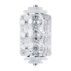 Lalique - Lalique Seville Wall Sconce Small Chrome - Lalique Seville Wall Sconce Small Chrome 1000299  -  Size: 4.92 Inches Long x 7.67 Inches Wide x 14.96 Inches Tall  -  Genuine Lalique Crystal  -  Fully Authorized U.S. Lalique Crystal Dealer  -  Created by the Lost Wax Technique  -  No Two Lalique Pieces Are Exactly the Same  -  Brand New in the Original Lalique Box  -  Every Lalique Piece is Signed by Hand, a Sign of its Authenticity and Quality  -  Created in Wingen on Moder-France  -  Lalique Crystal UPC Number: 090592100028