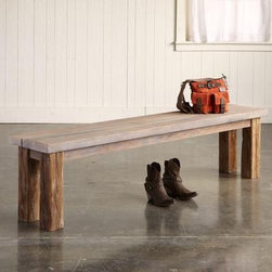 Salt & Vinegar Redwood Bench - This reclaimed redwood bench has a special, almost gray cast from curing in salt and vinegar. Place it indoors or out for a rustic, earthy, lived-in resting spot for anything from papers and shoes to picnic fixings.