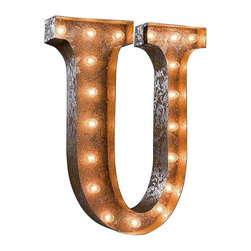 "Used 24"" Vintage Marquee Light - Letter U - Great for weddings, restaurants, bars, events, home decor, or even photo/set props. These Vintage Marquee Lights are what the ""Pickers"" dream of finding! The are carefully crafted from rusty metal to make them look authentic and antique.  Artificial wear and tear is created on each letter and wear will differ from sign to sign. Color will also vary due to naturally occurring rust.     Due to the rust, inside packaging can become dusty during transit. Open with care. Once open, shake dust off. There is a 24"" tall, 4"" deep (arrow 36"" tall) hanging bracket on back for easy wall installation. New UL Approved wiring, plugs, sockets and C9 bulbs included. 5 spare bulbs per sign also included incase of breakage during shipping. Plug into standard outlet. Indoor/outdoor use."