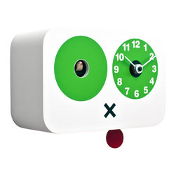 Progetti - Cucchino 2045 White Wall Clock - Wall cuckoo clock made in wood. Battery quartz movement. The Cuckoo strike is switched off automatically during the night controlled by a light sensor.