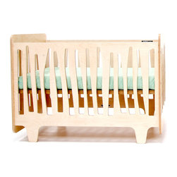 Funky Forest Crib - This innovative crib captures the funky nature of the forest in all its asymmetry and irregularity, creating a mini-ecosystem in your nursery. It is made of highly durable NAUF (no added urea formaldehyde) multi-ply birch wood. The finishes are non-toxic, water-based wood stain.