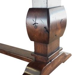 Trestle Table Details - Trestle Table End detail. Rustic alder construction, elegantly distressed. Shown in Antique Gunstock finish. David Haak