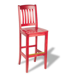 """Holsag - Bulldog Custom 24"""" - 30"""" Bar Stool - The name """"Bulldog"""" represents the sturdy nature of this seating line that includes a side chair, armchair, barstool, backless barstool and matching benches. The side rails on this chair are extra thick to support the weight of people climbing up and leaning onto the chair next to them. The back slats are raised from the seat to allow for easy cleaning. Upholstered seats as well as solid wood seats are available. The wood seats are sculpted at the factory to ensure a comfortable sitting position. Features: -100% Solid European Beech Hardwood. -Comes in a wide variety of finishes and upholsteries. -Choose a brass, chrome, or no kickplate. -Constructed for commercial/restaurant usage. -Dimensions: 47"""" H X 18"""" W X 19"""" D. -Seat Dimensions: 18"""" W X 16.5"""" D. -Fabric is a durable, easy-to-clean, synthetic material. -Sherpa is a single color weave; shire a multi-color weave. Note -Finishes and fabrics may appear differently on this website than the actual finished product. About Holsag Holsag is a privately held family business that was founded in Switzerland in the early 1960s, and has since been serving the European market through offices in Sweden and Romania. Holsag Canada has been serving the North American market since 1990. Based in Lindsay, Ontario they have delivered product to all ten provinces and fifty states direct from the Lindsay warehouse. Quality Materials At Holsag, their chairs are made exclusively from 100% European beech hardwood. Their Canadian factory uses extra durable catalyzed lacquers, engineered to further protect against wear and flaking. Custom Craftsmanship At Holsag, they take pride in meeting and exceeding the unique demands of their clientele. They handle orders for custom finished and upholsteries. All chairs are backed by an extensive warrantly. Prompt Delivery Holsag takes pride in having shipped virtually every order during the past three years, within four weeks. Some of their more popular s"""