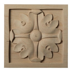 "Ekena Millwork - 5 1/8""W x 5 1/8""H x 7/8""D Large Edinburgh Rosette, Cherry - Our rosettes are the perfect accent pieces to cabinetry, furniture, fireplace mantels, ceilings, and more.  Each pattern is carefully crafted after traditional and historical designs.  Each piece is carefully carved and then sanded ready for your paint or stain.  They can install simply with traditional wood glues and finishing nails."