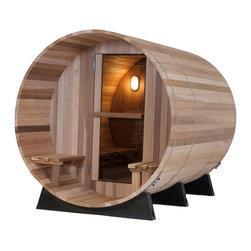 "Western Red Cedar Canopy Barrel Sauna - -Made from solid, 1-3/8"" thick Canadian Western Red Cedar"