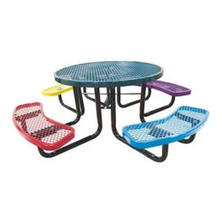 Leisure Craft Childrens Round Picnic Table - Give kids a fun place to call their own with the Leisure Craft Childrens Round Picnic Table. The table and benches come in a variety of colors. Supported on a sturdy understructure of black, 2-inch steel tubing, the expanded metal table top and seats feature a crisscross pattern of 9 gauge steel that lets rain through. You can also choose from portable, in-ground, or surface-mount installation depending on your needs. An umbrella hole in the center is ready for you to add some shade later on if you desire.About Leisure Craft Inc.If you've ever enjoyed lunch in the park or a family picnic by the lake, you probably have Leisure Craft to thank for the comfortable, convenient amenities. This full-service metal fabricator manufacturers a complete line of outdoor site furnishings, including seating options like benches, tables, chairs, and bleachers. Accessories such as grills, trash and cigarette receptacles, and bike racks round out Leisure Craft's offerings and indicate the company's dedication to addressing all your outdoor site needs.The Hendersonville, North Carolina based company specializes in producing vibrant colors of protective thermoplastic coatings to ensure fun, personalized design that will stand up to the elements. This environmentally safe coating tightly and thickly adheres to the galvanized steel construction, preventing corrosion without ever fading or cracking. Cuts to the coating can be easily repaired by melting and rebinding the plastic, and grafitti can be washed right off with a standard industrial cleaner. This material is simply the best solution for protecting your outdoor furnishings.