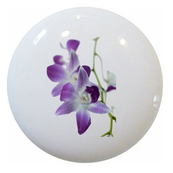 Carolina Hardware and Decor, LLC - Purple Orchids Ceramic Knob - New 1 1/2 inch ceramic cabinet, drawer, or furniture knob with mounting hardware included. Also works great in a bathroom or on bi-fold closet doors (may require longer screws). Item can be wiped clean with a soft damp cloth. Great addition and nice finishing touch to any room!