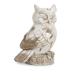 iMax - Singleton Garden Owl - This hooty friend is perfect for adding character inside or out! with the look of aged, carved, painted wood, this wise owl works great as a door stop, a garden decoration, or a decorative room accent in an enclosed patio.