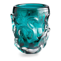Chagall Vase - Short - Curls of dimensional glass, organically spiraling like tendrils of smoke or waves in water, lend complexity to the interaction of colorless and deeply-hued turquoise glass in the Chagall Vase.  With its classic clarity transmitting ocean-colored light through the vessel, this artful piece is perfect for individual display or pairing with a coolly-tinted glass collection.