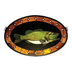 Meyda Tiffany - Meyda Tiffany Bass Plaque Stained Glass Tiffany Window X-07932 - An excellent choice for man caves, that hard-to-gift person or the fishing enthusiast, this Meyda Tiffany stained glass Tiffany window features a bass design. From the Bass Plaque Collection, the intricately designed fish is set against a pseudo wooden backdrop with dark chocolate shades and trim in warm golden amber tones.