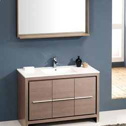 "Fresca - Fresca Allier 48"" Modern Single Sink Vanity Set w/ Mirror - The Fresca 48"" Allier is a sleek, modern free standing vanity with plenty of storage space. This model is accented nicely with a matching mirror with small shelf. Optional side cabinets are available. Many faucet styles to choose from."