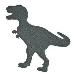 The Felt Store - Felt Dinosaur Decals - Dark Gray T-Rex - Have some fun with The Felt Store's Felt Dinosaurs! Bring imagination and dinosaurs back to life with these colourful dinosaur shapes. Great for kids to play with and learn from, these are soft, contemporary forms of our pre-historic friends. The felt dinosaur has an adhesive backing that will allow kids and adults to stick the dinosaurs on many different surfaces. The dinosaurs are made from 2mm Design Felt, which is 100% Merino Wool. The adhesive backing is reusable, removable and non-marking, allowing you to stick your dinosaurs in many different places over and over again! Each type of dinosaur measures from 3.5 inches to 4.5 inches long (89mm to 144mm) and from 5 inches to 7.5 inches wide (127mm to 191mm).