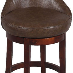 "Chintaly Imports - 0290-CS 26"" Swivel Solid Birch Counter Stool, Brown - Wood: Solid Birch. Double Stitching on the Borders. Antique Brown Design Leather. Comfortable Seat. Foot Rest for Extra Comfort. CA Fire Retardant Foam. Easily Assembled.; Color/Finish: Wenge; Upholstery: Brown; Dimensions: 39.76""H x 21.06""W x 18.31""D"