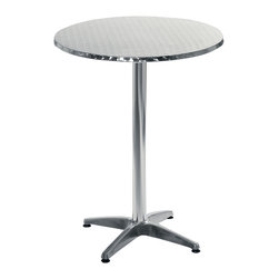 Euro Style - Euro Style Allan Bar Table 04114A/04114B - Our designers made a good thing even better with the decidedly Euro Style Bistro Table. The shiny Allan Bistro stainless steel table top is secured atop an aluminum base with a quadruped base. And we've got it in both table and bar height. Can we make it even better? Why yes! Those wobbles are a thing of the past with the adjustable feet.