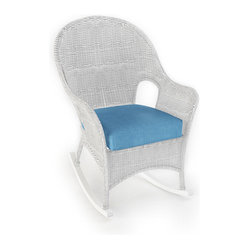 Rockport Outdoor Wicker High Back Rocker, White