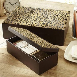 "Leopard Wood & Leather Storage Box, Large - Small enough to keep on a desk or dresser top, our leopard-print box makes storage stylish. 10.75"" wide x 5"" deep x 4"" high Handcrafted of MDF covered with faux leather; printed leopard pattern on top."