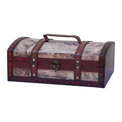 "Quickway Imports - Old World Map Treasure Chest - Size: 12"" x 8"" x 4.5"""