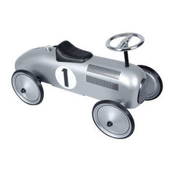 """Silver Speedster - A metal ride on toy with the colors and graphics of a race car. Features detailed chrome accents, working steering column and rubber tires. Assembly required. 42lb weight limit. 29 1/2"""" long."""