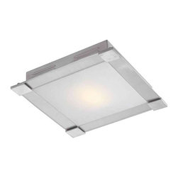 Access Lighting - Access Lighting Carbon Flush-Mount in Brushed Steel, Opal Glass - -Flush-Mount