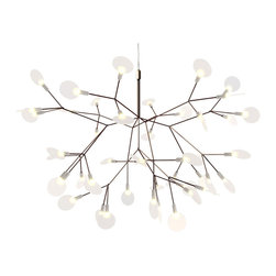 Moooi - Heracleum LED Suspension - Heracleum LED suspension was inspired by the Heracleum plant. The white leaves/lenses ramify from one branch creating a very technical, natural structure. The Heracleum leaves are not frozen in one position. They can be freely re-positioned by rotating them around their stem. Finish available in copper and nickel. Available in two sizes. Large includes 63, 3000K warm white LED lamps totaling 14 watts. Small includes 45, 2700K warm white LED lamps totaling 9 watts. General light distribution. CE listed. Small: 28.3 inch diameter x 20.9 inch height x 157.5 inch maximum overall height. Large: 38.6 inch diameter x 25.6 inch height x 157.5 inch maximum overall height.
