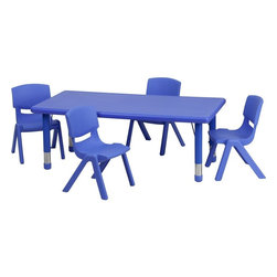 Flash Furniture - Adjustable Blue Plastic Activity Table Set with 4 School Stack Chairs - This table set is excellent for early childhood development. Primary colors make learning and play time exciting when several colors are arranged in the classroom. The durable table features a plastic top with steel welding underneath along with height adjustable legs. The chair has been properly designed to fit young children to develop proper sitting habits that will last a lifetime.