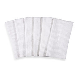 Real Simple Bar Mop Kitchen Towels, White, Set of 6 - Absorbent bar mops are so nice to have on hand in the mudroom/entry area for quickly drying off or wiping up from the snowy outdoors.