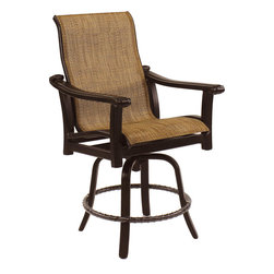 Castelle Outdoor Furniture - Pride Family Brand - Castelle Chateau High Back Swivel Counter Stool - Castelle Cast Aluminum Outdoor Furniture, manufactured by Pride Family Brands in Costa Rica, is constructed of rust-free, lightweight, durable aircraft grade aluminum and uses full-circumference welding to eliminate gaps and stress points on the frames. Castelle is an industry leader and is known for producing high-quality outdoor furniture that blends all-weather durability with indoor styling. http://www.authenteak.com/castelle.html