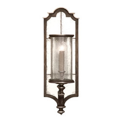 Fine Art Lamps - Villa Vista Sconce, 808050ST - Add a touch of old-world elegance to your home with this exquisite mirrored sconce. The shade is fashioned from handblown seeded glass, which rests atop a driftwood-finished bracket accented with silver leaf. The distressed mirror backing adds an authentic period touch and reflects light back into the room.