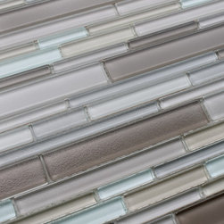 Rocky Point Tile - Feel Series Avario Textured Strip Mosaic Tiles, 10 Square Feet - A lightly textured multicolored blend of brown, beige, warm gray, and an icy white that is slightly blue in color. Tile pieces vary in length and width giving the tile a complex pattern that looks great in large spaces or smaller areas like a kitchen backsplash. The surface has a very light bumpy texture that adds extra dimension.