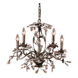 Elk Lighting - Elk Lighting Circeo Transitional Chandelier X-5/3508 - From the Circeo Collection, this Elk Lighting chandelier incorporates garden-inspired elegance with traditional flair for an intricate and visually stunning light fixture. This transitional chandelier features botanical detailing throughout paired with crystal accenting and a beautiful Deep Rust finish.
