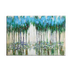 Uttermost - Hand Painted Canvas Trees In The Mist Abstract Painting - Hand Painted Canvas Trees In The Mist Abstract Painting
