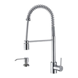 Ruvati - Ruvati RVF1210K1CH Commercial Style Pullout Spray Kitchen Faucet with Soap Dispe - This premium Ruvati kitchen faucet from the Cascada collection is constructed of solid brass giving it exceptional durability. The ceramic disc cartridge ensures drip-free functionality. The faucet can be installed into countertops up to two inches thick. Hot and cold water connection hoses are included.
