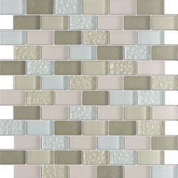 Vintrav Pestel Blue & Camouflage Green 1 in. x 2 in. Glass Mosaic Tiles, Sheet - Vintrav Pestel Blue & Camouflage Green 1 in. x 2 in. Glass Mosaic Tiles for Bathroom Floor, Kitchen Backsplash, unmatched quality.