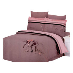 Le Vele - 6 Pc Queen Hockey Duvet Cover Bedding Set - Includes flat bed sheet, duvet cover, two pillow cases and two pillow shams. Machine washable. Tumble dry. 205 thread count. Imported. Tucked in or can hang over eliminating the need for a bed skirt. Oversized flat sheet provides versatility. Reverses solid tan with black and dark tan stripes. Mauve pink backdrop. Excellent brightness and long lasting colors. Sheets feel soft and inviting. High quality cotton fabric and superior workmanship. Made from 100% cotton fabric. Flat Bed Sheet: 102 in. L x 94 in. W. Duvet Cover: 87 in. L x 80 in. W. Pillow Cases: 30 in. L x 20 in. W. Pillow Shams: 32 in. L x 20 in. WThe grace of cotton meets with the elegance of Embroidery with this ensemble with hockey players embroidered on a The snaps at the foot of the duvet make it easy to insert a comforter. This complete bedding set is delivered in an elegant box wrapped in glossy paper and tied with an ornamental bow. A Le Vele French designer carrying gift bag is also included in the package.