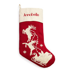 Horchow - Red Santa & Sleigh Stocking Personalized - Red Santa & Sleigh Stocking PersonalizedDetailsMade of polyester.Rice-stitched decoration.Available in two styles: Santa with trees or Santa with two reindeer; select style when ordering.Personalization is name (up to nine characters/spaces) in red thread in style shown.Imported.You will be able to specify personalization details after adding item(s) to your shopping cart. Please order carefully. Orders for personalized items cannot be canceled and personalized items cannot be returned.
