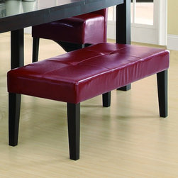 "Monarch - 48""L Leather-Look Bench in Burgundy - This stylish bench compliments the look of the dining table with generously padded tufted cushioning and matching stain finish. Built for comfort, this burgundy bonded leather seat undeniably adds to the appeal and character of the dining set.; Assembly required; Weight: 53 lbs; Dimensions: 48""L x 16""W x 18""H"