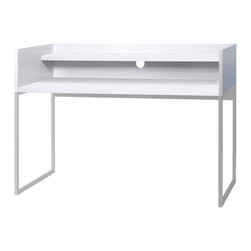 Temahome - Oslo Home Office Desk, Pure White - Oslo's slim and slender silhouette is taken from its Nordic feel, also present in the piece's name. With this desk it's possible to create your own semi-private working area, as it is surrounded by a vertical structure on its side and back. This structure gives the user some privacy, and offers support where books can lean and notes can be hanged. Simple yet functional, Oslo can adapt to an array of environments from a teenager's room to an office space.