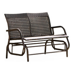 Great Deal Furniture - Burbank Outdoor Brown Wicker Glider Bench - The Burbank Outdoor Glider Bench is the optimal way to relax outdoors with friends and family. The glider is built with UV weather resistant brown wicker that will complement most outdoor decor. Perfect for two, users will enjoy the swinging feature as an added bonus to this already beautiful outdoor bench.