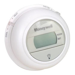 HONEYWELL - HONEYWELL HEAT/COOL T-STAT - | Large easy-to-read display | On-demand backlighting makes it easy to read the display in a dark room or hallway | No batteries required | The temperature setting is held permanently in memory in the event of a power failure | Powered through heating-cooling system controls | Easy installation, set up and 5-minute compressor bypass saves time and increases installer productivity | Easily configurable by the use of DIP switches | F or C temperature display | Selectable heating cycle rates (1, 3, 6, 9 cph) for a variety of applications | The T8775A Thermostat provides 24V control of heating only systems. The T8775C thermostat provides single-stage temperature control for 24V heating-cooling systems with manual changeover from heat to cool.