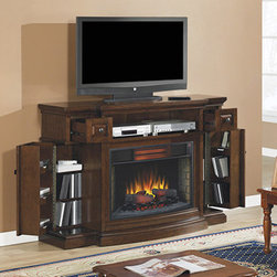 Memphis Infrared Electric Fireplace Entertainment Center in Cherry - 32IMM4787-C - Don't let the small frame of the Memphis Infrared Electric Fireplace Entertainment Center in Cherry fool you — thanks to the piano hinges along the cabinets and roll out drawers, the unit can easily hold various DVDs, CDs, and other electronic devices.