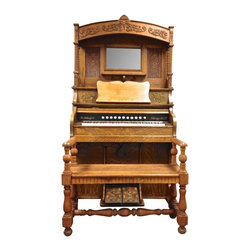1904 Antique Schulz Pump Organ & Oak Bench -