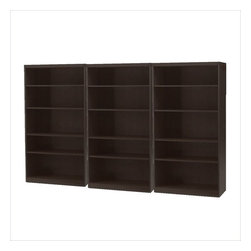 Mayline - Mayline Aberdeen 5 Shelf Wall Bookcase 3 Piece Set in Mocha - Mayline - Bookcases - AB5S36LDCPKG - Mayline Aberdeen 5 Shelf Bookcase in Mocha (included quantity: 3)