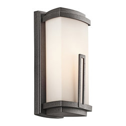 BUILDER - KICHLER 49110AVI Leeds Soft Contemporary/Casual Lifestyle Outdoor Wall Sconce - This 1 light wall lantern from the soft contemporary Leeds collection is a striking statement for any home. It features a Cased Opal glass rectangular shade with a distinctive rectangular accent.  Uses (1) 100W bulb or (1) 13-15W CFL. Rated for wet locations.